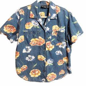 Liz Wear Petite Floral Chambray Shirt